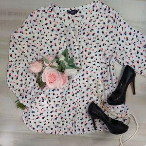 Lands'End dalmatian dot button front blouse